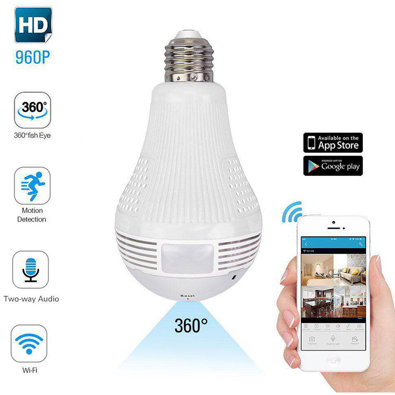 5.0MP Smart Home Security WIFI IP CCTV P2P Bulb/Lamp Camera With Two-way audio Alarm Motion Detection For Baby Nanny Pet Monitor
