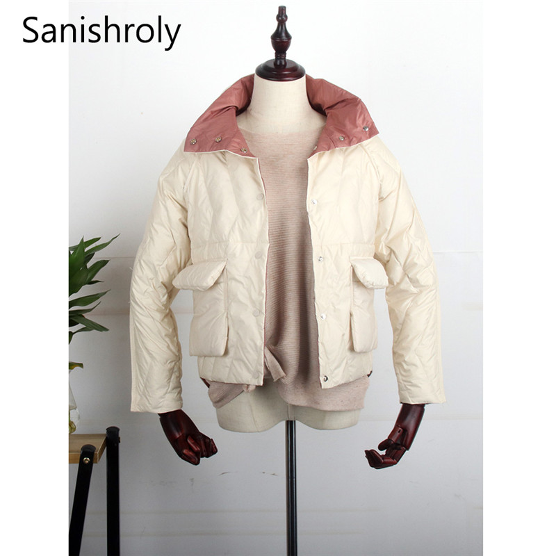 Sanishroly Double   Coat   Autumn Winter Women Ultra Light   Down   Jacket Slim White Duck   Down     Coats   Female Short Outwear Plus Size 583