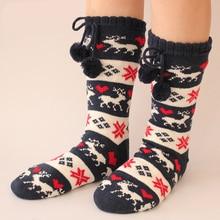 High Long-Barreled Anti-Slip Floor Warm Socks Women Adult Socks Wool For New Year Christmas Creative Funny Thick Home Socks