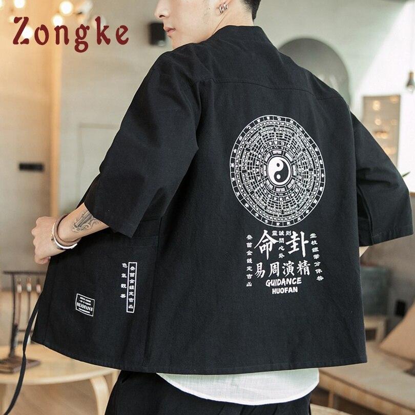 Zongke Linen Chinese Style Kimono Men Japanese Kimono Cardigan Harajuku Kimono Shirt Men Streetwear Hawaiian Shirt Men 5XL 2019