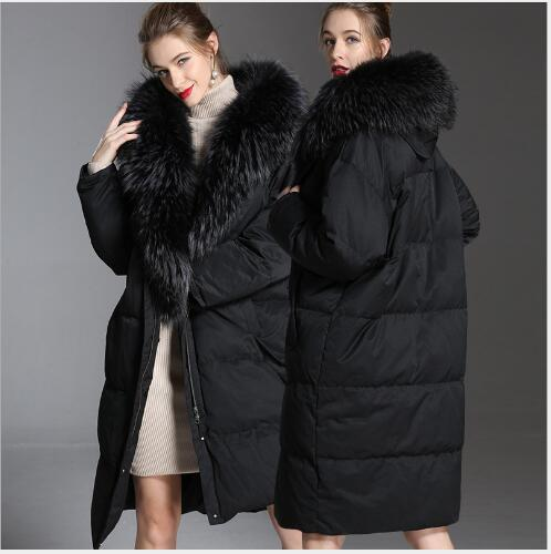 Long Down Coat Women Winter Fashion Oversize White Duck Down Parka Lady Outdoor Casual Thick Warm Big Fur Collar Jacket FR3011