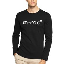 2016 new Albert Einstein Mass energy equation E=mc^ Long sleeve t shirts gravitational waves physics top jersey Printed Tee