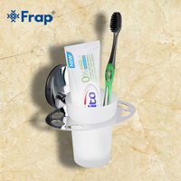 1 Set High Quality Wall Mount Zinc Alloy Cup Holder Glass Cups Bathroom Accessories Single Toothbrush