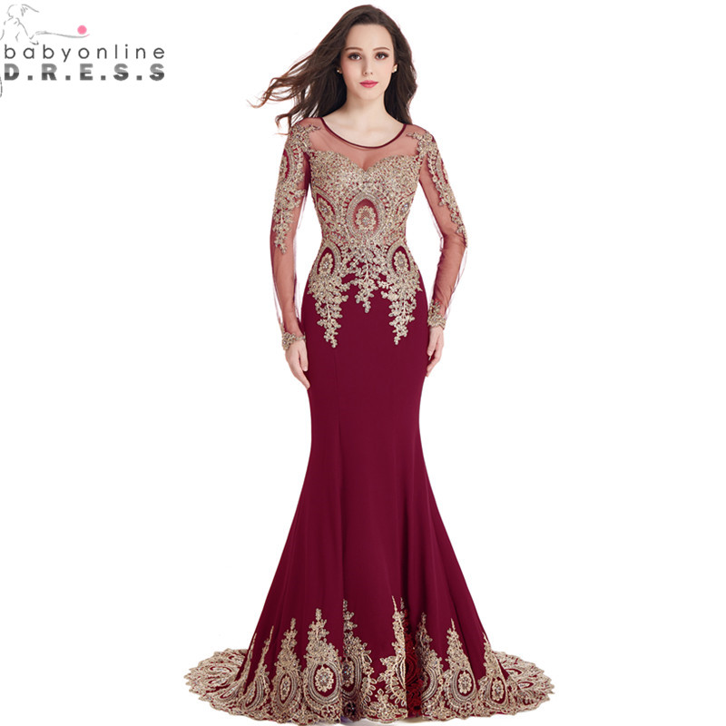 Real Image Cheap Burgundy Long Sleeve Mermaid Lace Prom Dresses Sexy Sheer Back Evening Party Dress Vestido De Festa Longo