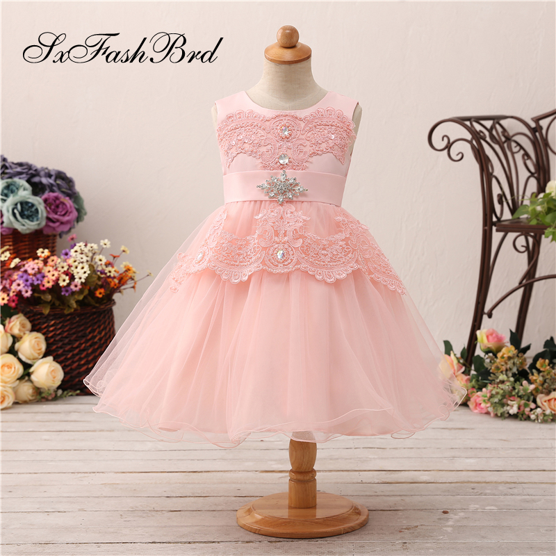 Vestido Flores Party   Flower     Girl     Dresses   O Neck With Appliques A Line Pink Tulle Long   Girl   Pageant   Dress   Robe Mariage Fille