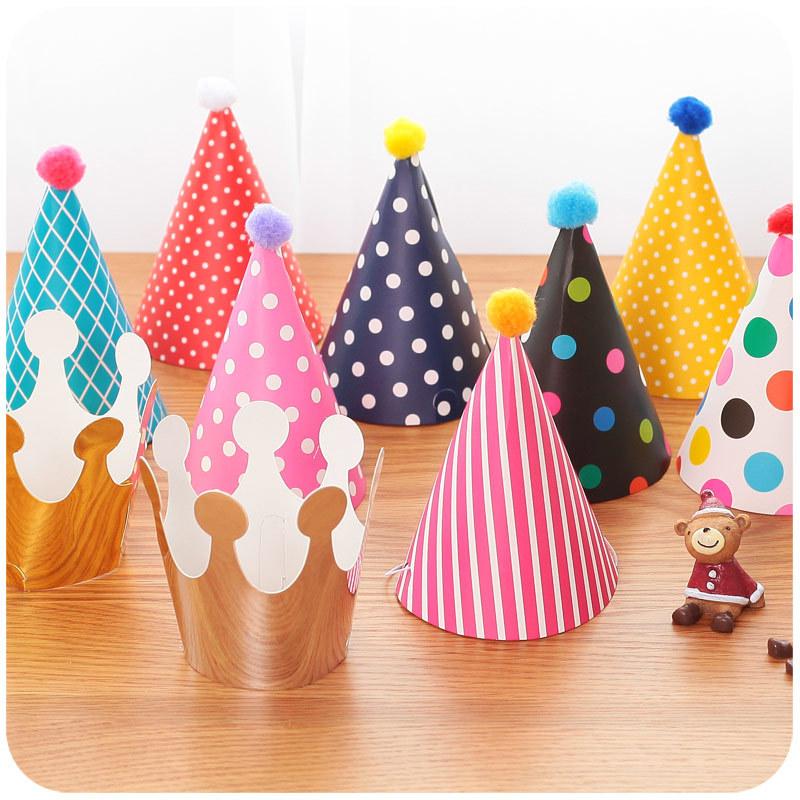 unidslote colorido dot stripe papel sombrero de cumpleaos coronas sombreros de fiesta