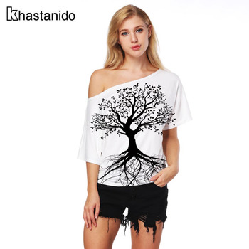 3d Print Off Shoulder TShirts Short Sleeve Casual White Punk Tees Women