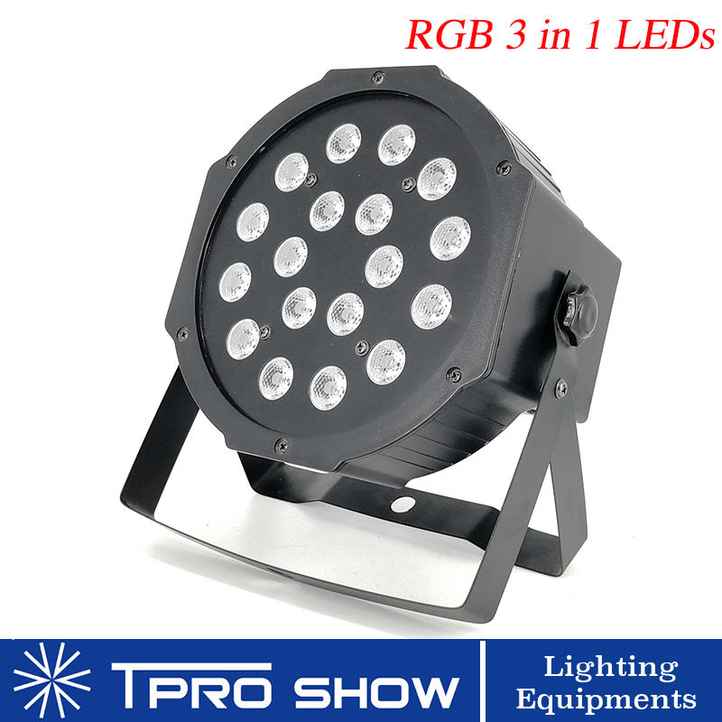 LED Flat Par 18x3W RGB 3 in 1 Plastic Lighting Music activated Colors Change Strobe 18 Red 18 Green 18 Blue for Party Decoration|Stage Lighting Effect| |  - title=