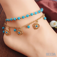 Boho  Beach Anklets Green Pine StoneBeads Set Auger FaceplateTassel Combinations Foot  Accessories for Women
