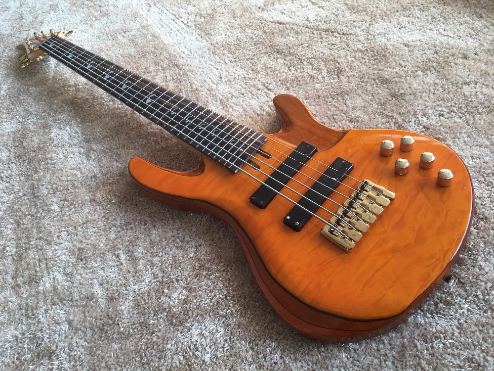 6 string bass guitar jp2 yellow quilted maple body back and front active pickups golden bridges. Black Bedroom Furniture Sets. Home Design Ideas