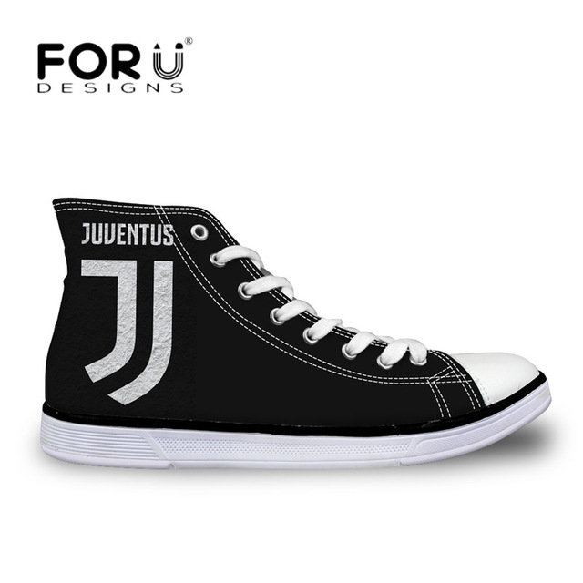 FORUDESIGNS Juventus Soccer 2018 Football Print Men Canvas Shoes High Top Flats Casual Shoes Classic Boy Lace-up Vulcanize Shoes forudesigns sneakers geometry dash pattern high top shoes woman classic lace up vulcanize shoes autumn students light mesh flats