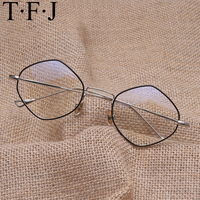 TFJ new black eye glasses frames for men women high quality big gold rimmed glasses men frames brand designer metal