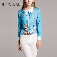 2018 Newest Best Quality Fashion Blouse Turn down Collar Full Sleeve Floral Cat Printed Bow Casual Shirt Elegant Fashion Tops