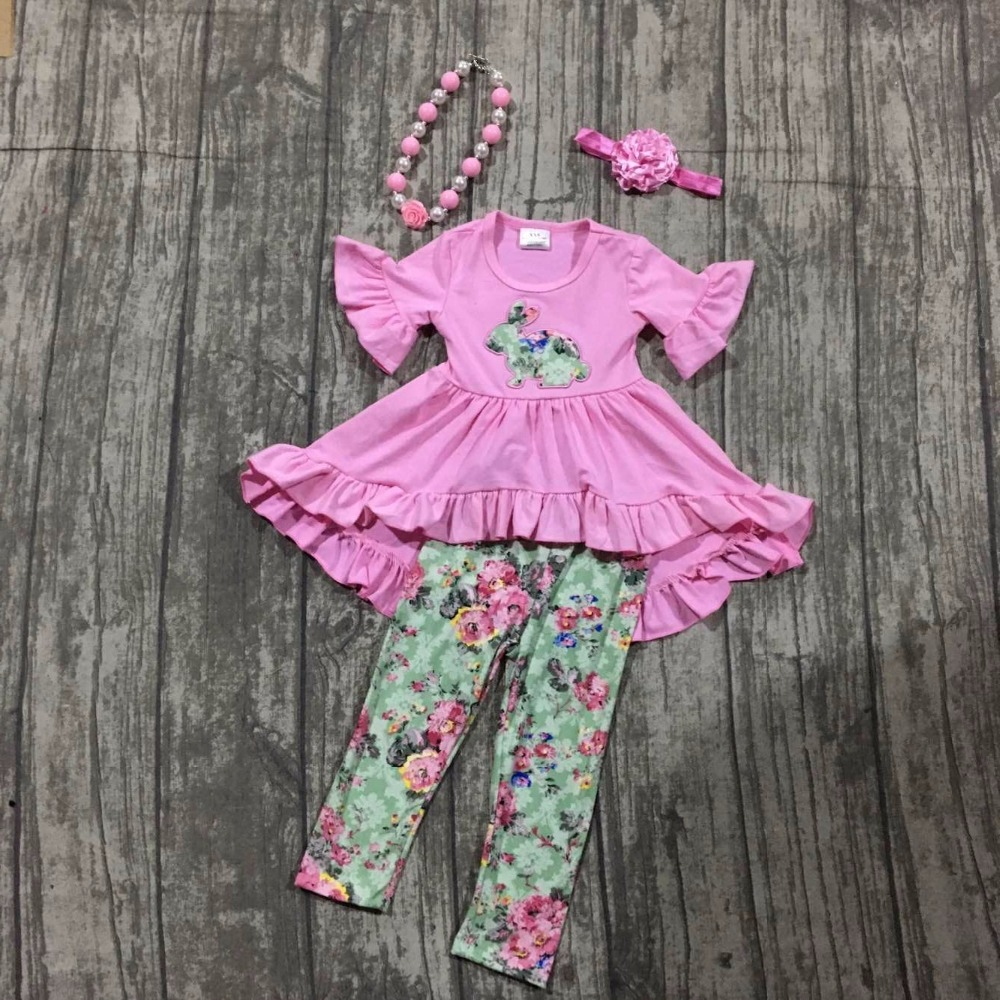 girls Easter bunny outfit girls Easter party clothing pink top dress with floral pants sets girls Spring outfits with accessoies