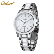 Onlyou marca de cerámica blanca reloj de las mujeres de los hombres reloj de cuarzo de moda de lujo de negocios vestido de las señoras colck reloj masculino femenino 6905