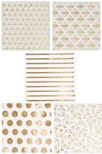 metable 100-Pack Luncheon Napkins, Disposable Paper Napkins Party Supplies, 3-Ply, 5 Assorted Gold Foil Print Designs, Unfolded