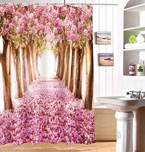 CHARMHOME Modern Polyester Floral Shower Curtain 3D Cherry Blossoms Nature  Modern Design Waterproof Fabric Curtains For Bathroom