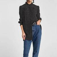 Fashion Women Korea Style Loose Blouse Vintage Chiffon Polka Dots Body Blouse Tops Long Shirt Stand