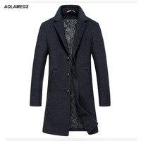 Aolamegs של גברים חורף מעיל צמר ותערובות צמר מעילי Slim Fit ארוך סגנון מעיל רוח להאריך ימים יותר חמים מעיל מזדמן עסקים