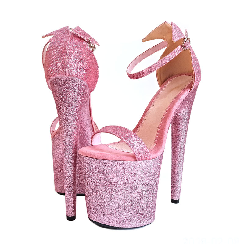 Leecabe Beautiful Pink Glitter Pole dancing shoes with 8inches High Heel platform Pole Dancing Shoes 20cm pole dancing sexy ultra high knee high boots with pure color sexy dancer high heeled lap dancing shoes