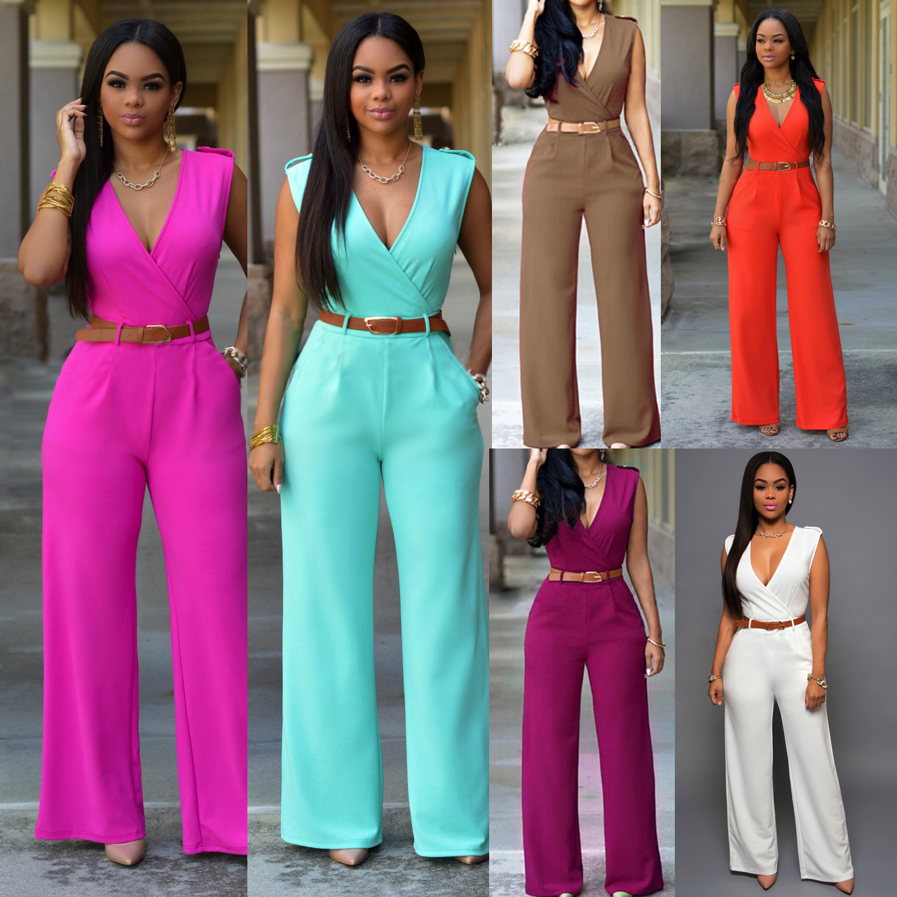 58f9780fa6e3 AliExpress Top Selling European and American Style Fashion Women s Loose  Casual Pants Leisure Jumpsuits (with Belt)-in Jumpsuits from Women s  Clothing on ...