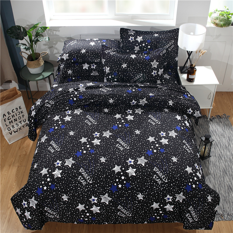 Direct selling was studded with stars 3DBedding Set polyester Duvet Cover white black Starry Sky Bedclothes Twin queen king Size