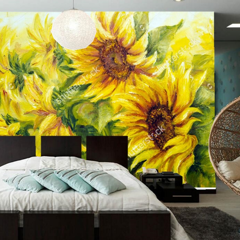 Custom retro wallpaper,Sunny Sunflowers,photo mural for the living room bedroom restaurant background wall relief wallpaper custom retro wallpaper brick wall 3d wallpaper mural for the living room bedroom kitchen backdrop wall waterproof pvc wallpaper