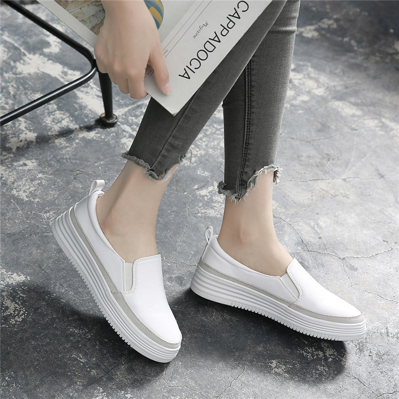 Blanc noir chaussures 2018 automne femmes mocassins en cuir de base mode ballerines argent femme sans lacet mocassins bateau chaussures mocassins - 5