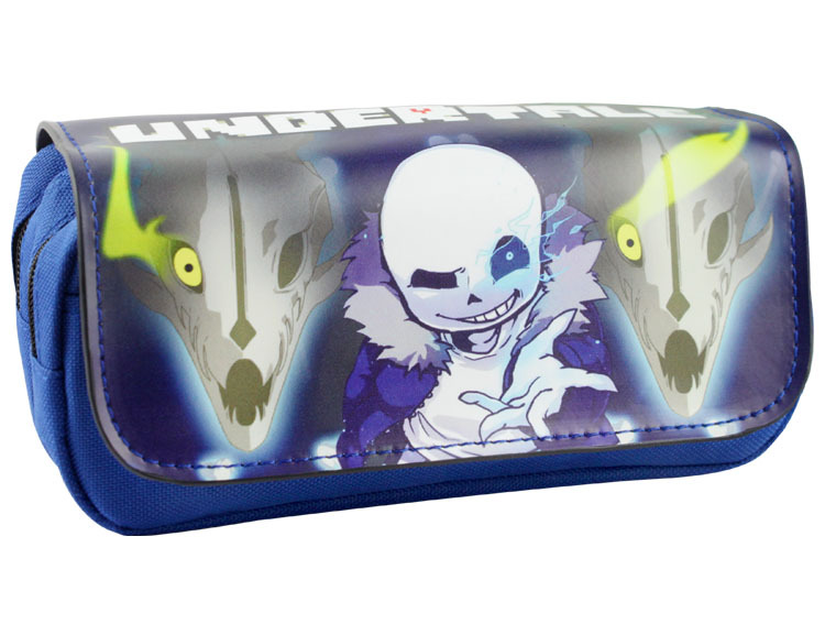 2017 Legend of Undertale Comestic Bags Pen Cases Skull Brothers Game Characters Double Zipper Pencil Stationery Bag Men