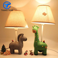 Dormitory Lamp Decoration Baby Child Care Eye Lamp LED Bedroom Bedside American Resin Retro Students Can