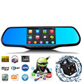 Universal 2 Lens 5 Inch 1080P Android 4.4 Car Rearview Mirror DVR GPS Navigation WiFi Auto Vehicle DVR With Parking Camera