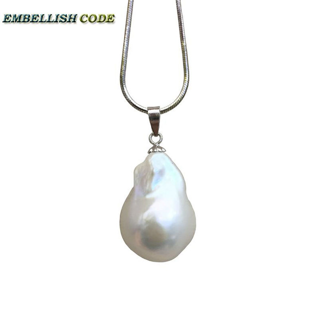 hot  Simple style baroque pearl pendant necklace nucleated flameball shape white color snake chain 925 sterling silver 16'' 18''