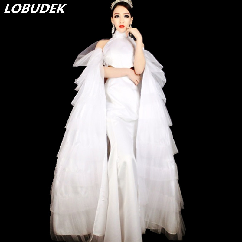 Christmas Party costumes Prom Celebration performance clothing White Cloak Dress Nightclub female Singer Host stage wears outfit