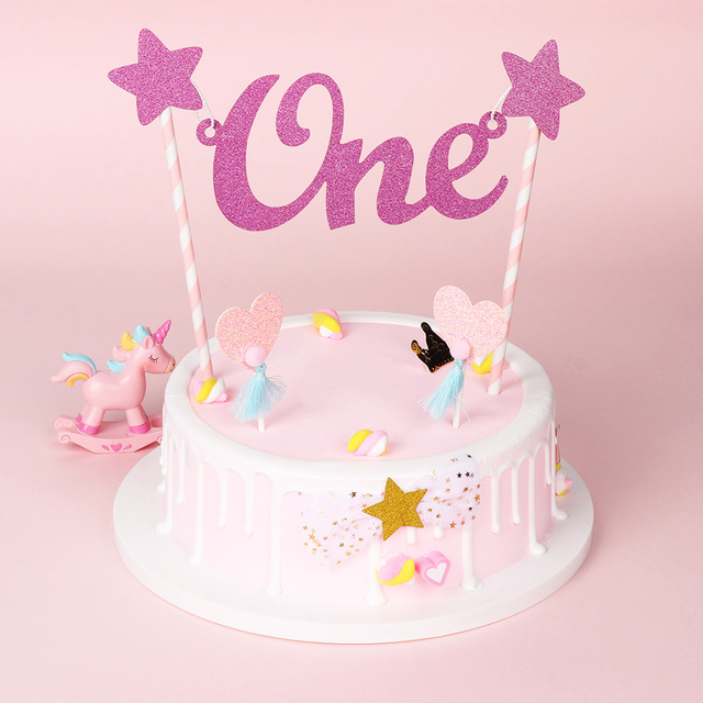 New 1 3CPS Anniversary Baby 1st Birthday Cake Topper Letter One Glitter Star Bunting Banner