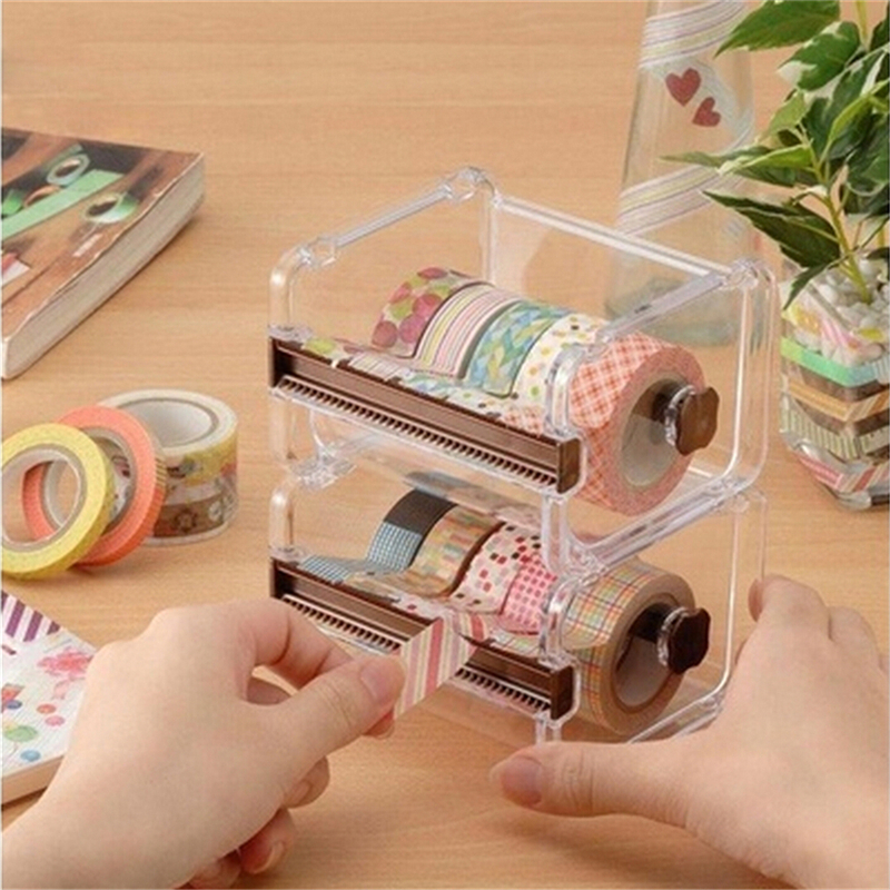 Stationery Masking Tape Cutter Washi Tape Storage Organizer Cutter Office Tape Dispenser Office Supplies