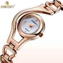 Nuevo 2016 de la Marca de Lujo KINGSKY Campana de Aleación Dial Señoras Reloj de Cuarzo de Las Mujeres de Moda Reloj de pulsera de Reloj de Mujer reloj de Señora