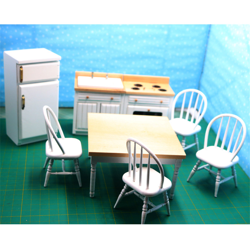 1:12 Dollhouse Miniature table stove kitchen set model Furniture toy for dolls simulation pretend play toys for girls children цена