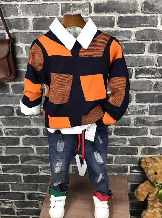 High quality Children clothing sets boys sports suit kids clothes Baby boys Knitwear + shirt + jeans 3pcs  2-6years