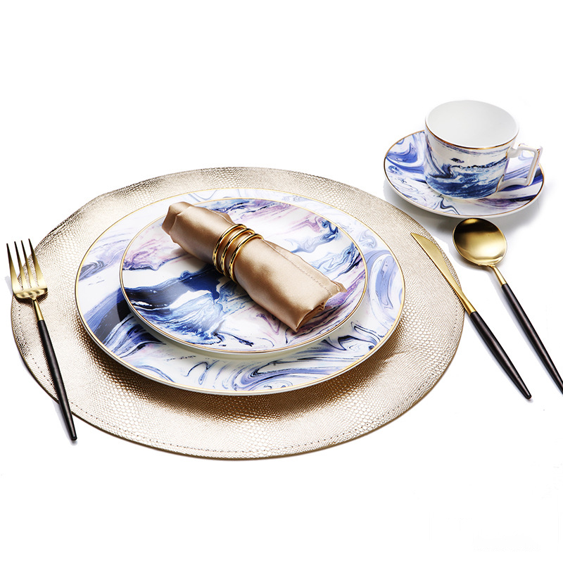 Ceramic Dinnerware Set Watercolor Painting Design Dinner Food Tray Purple Blue Dishes Salad Plate Serving Dishes Golden Edge
