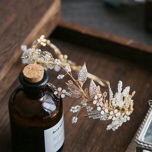 Image 5 - Jonnafe delikatny złoty liść kobiety Prom chluba Hairband kwiatowy Bridal Tiara korona włosów Handmade akcesoria ślubne pałąk