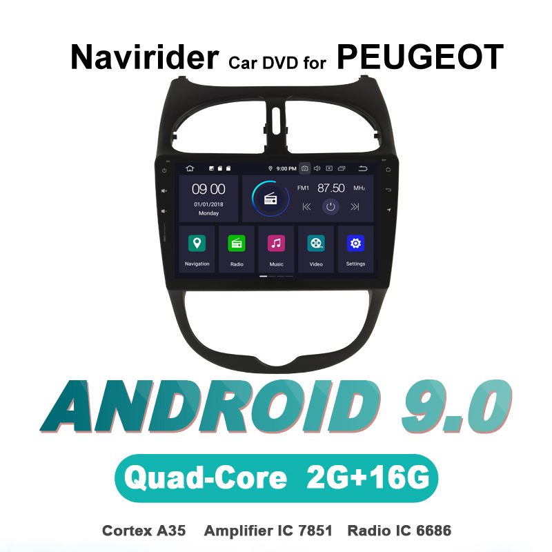 touch screen OTOJETA Android 9.0 car dvd player FOR <font><b>PEUGEOT</b></font> <font><b>206</b></font> HU car accessories gps Multimedia radio tape recorder Stere image
