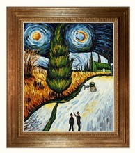 Road with Cypress and Star by Vincent Van Gogh Handpainted