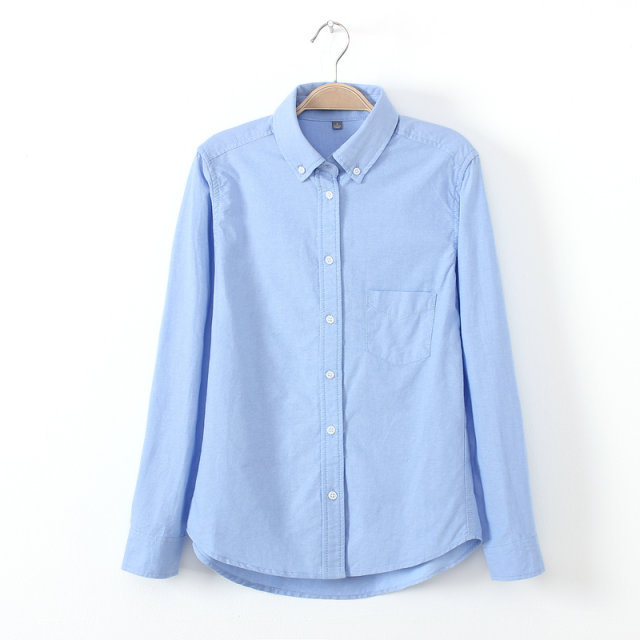 2016 Spring and Autumn new style female Oxford shirt, blue work wear casual women long-sleeve blouse, high quality slim blusas