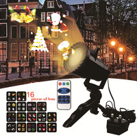 DACHAN 16 Patterns IP65 LED Christmas Laser Snowflake Projector Light For Indoor Outdoor Xmas Disco Lights Home Party Decoration