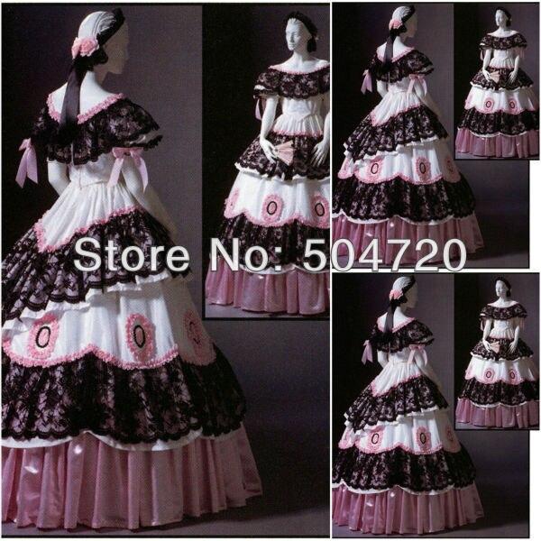 Livraison gratuite! 1800 S rose coton guerre civile sud Belle robe de bal robes victoriennes/robe scarlett Sz US6-26 V-223