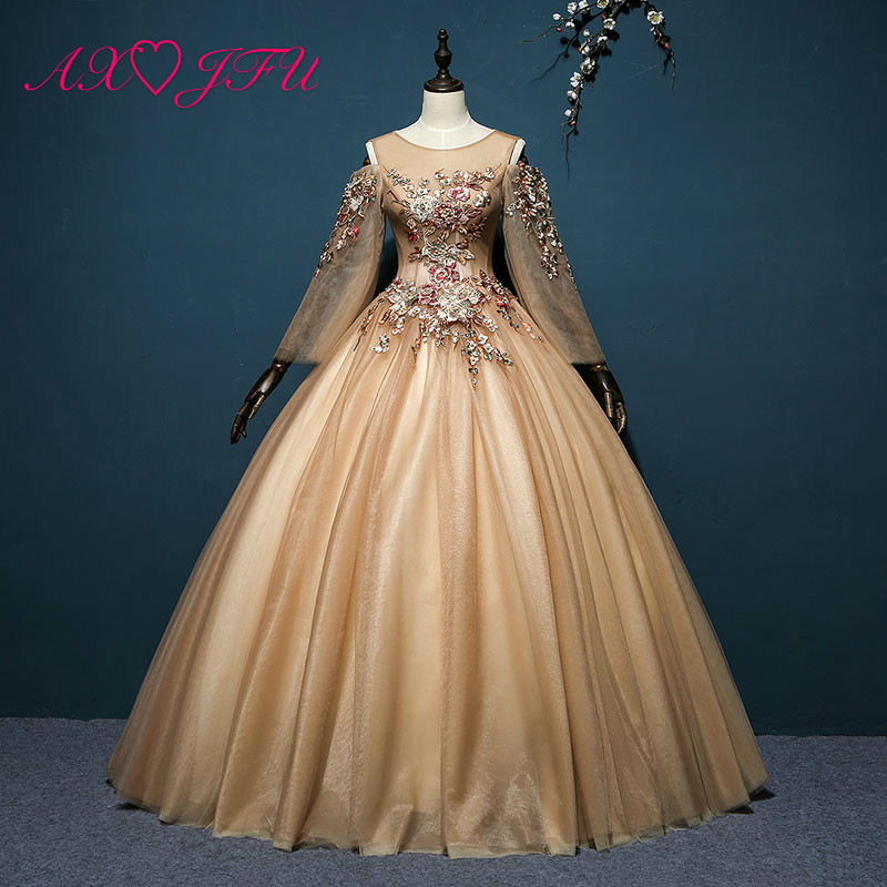 AXJFU Golden brown lace princess   evening     dress   stage vintage o neck long sleeve beading peals embroidery flower   evening     dress