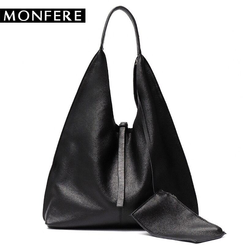 MONFE Genuine Leather Hobo Bags Women Casual Large tote designer shoulder bags High Quality Brand handbag female liner purse set