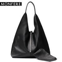 MONFE Genuine Leather Hobo Bags Women Casual Large Tote Designer Shoulder Bags High Quality Brand Handbag