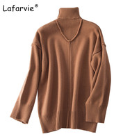 Lafarvie 2017High Quality Autumn Winter Knitted Sweater Women Pullover Turtleneck Sweater Loose Warm Soft Thick Cashmere