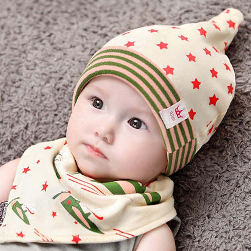 d7a7c5cfeee Baby Bib Hat Sets Beautiful Star Baby Hat Cotton Scarf Infant Hats Set Baby  Cap Bib Infantil Caps Bebe Beanies Cartoon Bibs-in Hats   Caps from Mother  ...